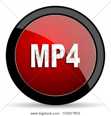 mp4 red circle glossy web icon on white background, round button for internet and mobile app