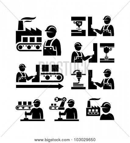 Factory worker in production plant working with machinery vector icons