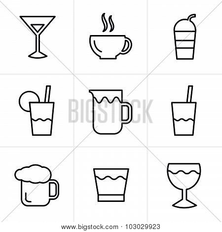 Line Icons Style  Drink  Icons Set, Vector Design