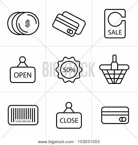 Line Icons Style Shopping Icon Set