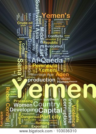 Background concept wordcloud illustration of Yemen glowing light