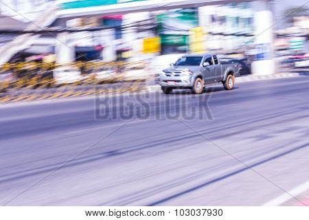 Pick-up Speeding In Road
