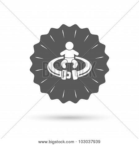 Fasten seat belt sign icon. Safety accident.