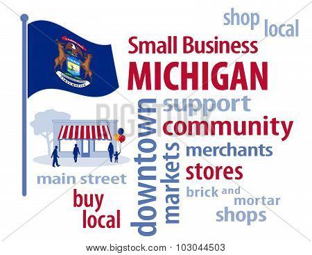 Michigan Flag, Small Business USA, The Great Lakes State
