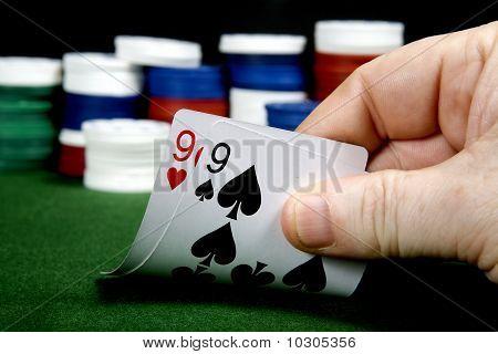 Pair of nines at poker