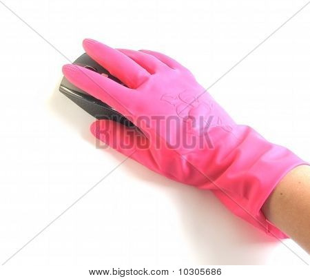 Hand In Rubber Glove With A Computer Mouse