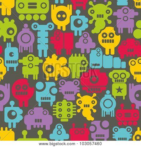 Seamless pattern with mini monsters nanobots.