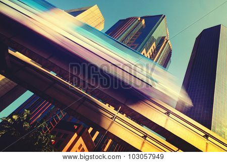 Skytrain Speed City Transportation Commuter Traffic Concept