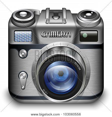 Retro Photo Camera Icon. Detailed Vector Illustration