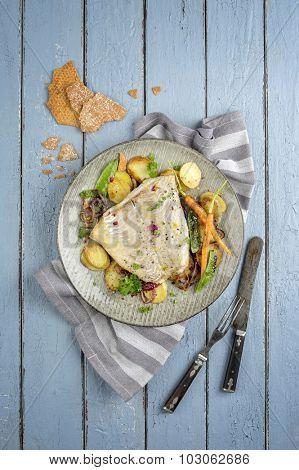 Coalfish on Plate