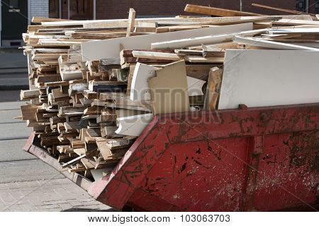 Skip Loaded With Old Wood