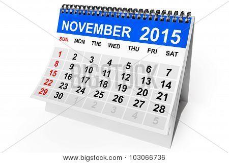 2015 year calendar. November calendar on a white background poster