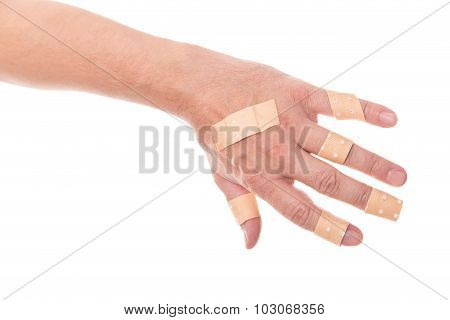 Man´s Hand Glued A Lot Of Medical Plaster On The Elbow, Isolated On White, Concept First Aid