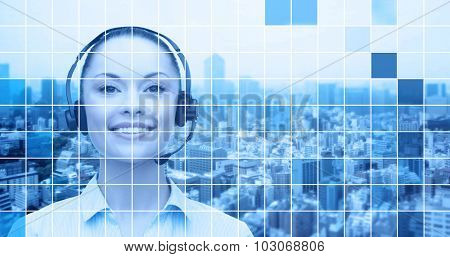 business, people, technology and communication concept - happy asian female helpline operator in headset over city and blue grid background