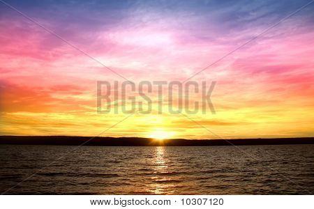 Sunset over lake Mc Donald