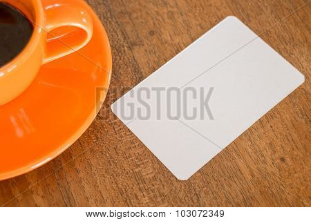Blank Business Cards On Wooden Table
