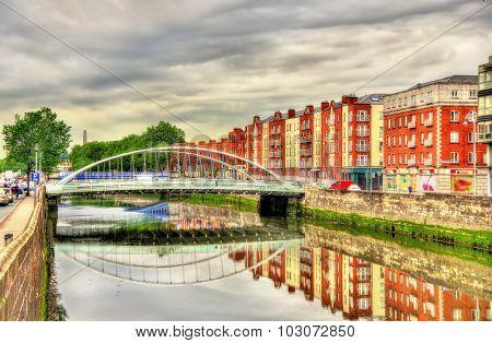 View Of James Joyce Bridge In Dublin - Ireland