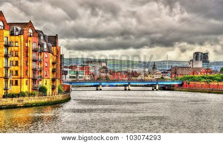 View of Belfast over the river Lagan - United Kingdom poster