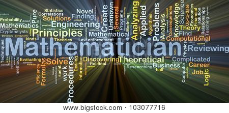 Background concept wordcloud illustration of mathematician glowing light