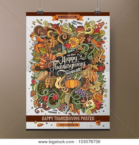 Doodles cartoon colorful Happy Thanksgiving poster