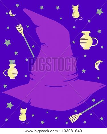 Illustration of a Purple Witch Hat Surrounded by Witchcraft Related Items