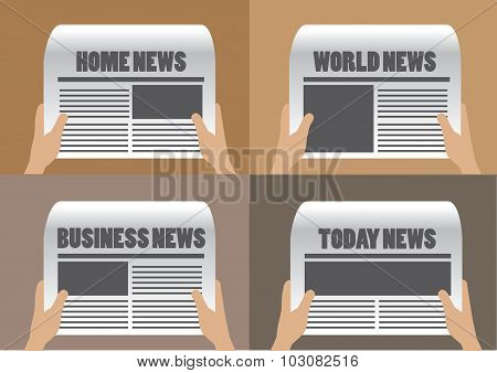 Newspaper Headlines Vector Illustration
