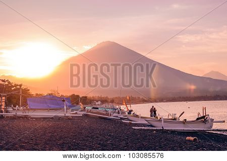Romantic Sunset With Volcano View