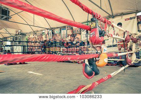 Bangkok, Thailand - 25 January, 2014: Gloves At Training Ring Of Muay Thai