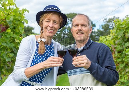 Caucasian Couple Toasting With Glasses Of Red Wine In Vineyard