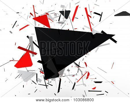 3d abstract background with shrapnel