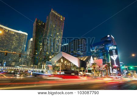 Las Vegas - December 7, 2013: Blurred Lights On The Strip At Sunset - Aria Resort And Casino