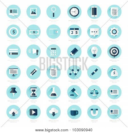Set Of Flat Design Icons Blue Color Styles