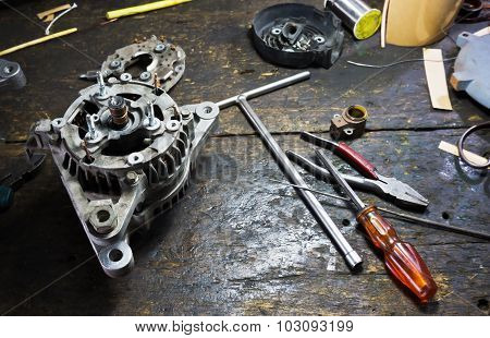 Still Life Repair Of Engine Parts