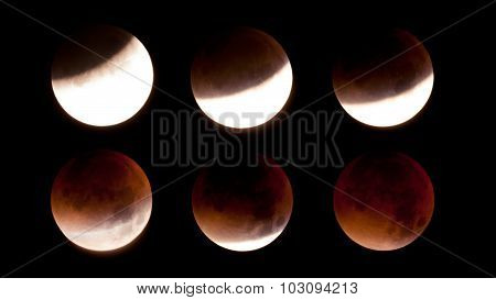 Total Lunar Eclipse on Sept. 28 2015 observed in Kiel Germany through a Telescope poster