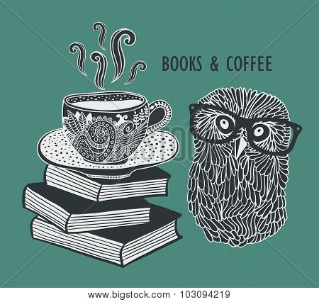 Coffee and books with cute clever owl in eyeglasses.