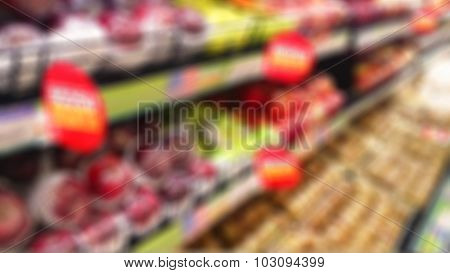 Defocus And Blur Image Of Fruits Devision In Supermarket For Blur Background
