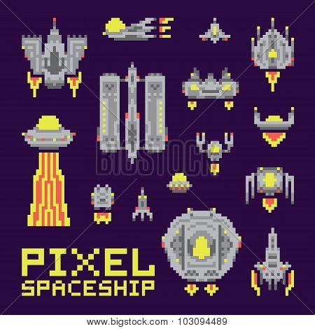 Spaceship isolated vector set
