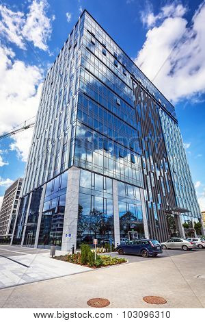 GDANSK, POLAND - SEPTEMBER 3, 2015: Modern buildings architecture of Olivia Business Centre in Gdansk, Poland. Olivia Business Centre is the largest office centre in Tri-City and Northern Poland.
