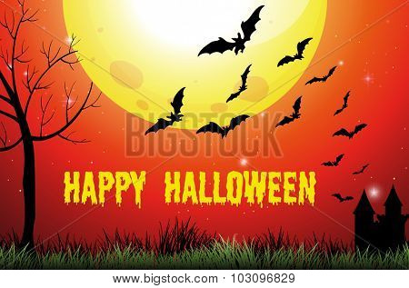 Halloween theme with fullmoon and bats illustration