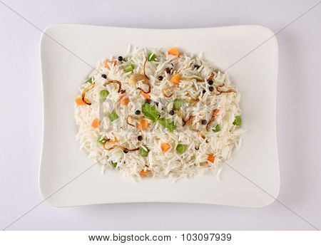 Vegetable fried rice or veg pulav or biryani