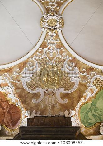 WROCLAW, POLAND - AUGUST 04, 2013: fragment of stucco and interior oratorio Marianum at Wroclaw University. Poland