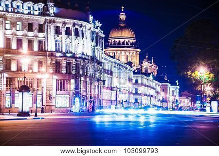 Beautiful night view of Nevsky Prospect and Isaac's Cathedral ne