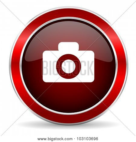 camera red circle glossy web icon, round button with metallic border