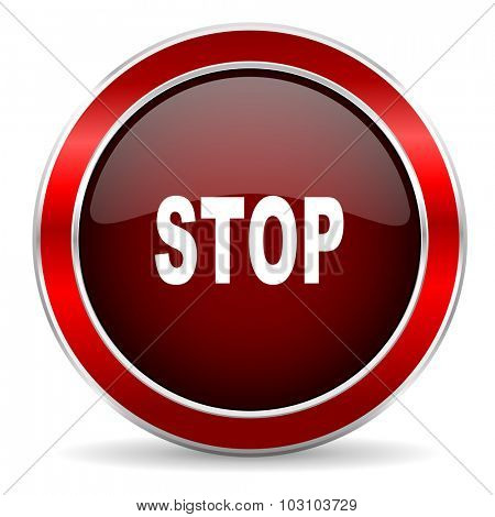 stop red circle glossy web icon, round button with metallic border