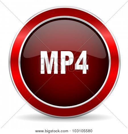 mp4 red circle glossy web icon, round button with metallic border