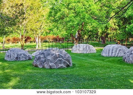 Freakish Stones In A Park Near Of The Complex Temple Of Heaven In Beijing.