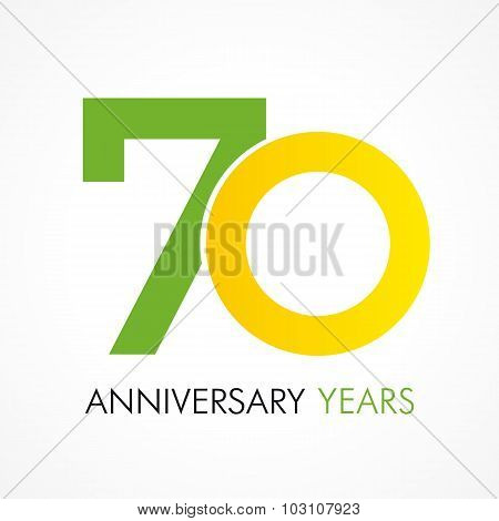 70 years old celebrating classic logo. Anniversary year of 70 th vector template. Birthday greetings celebrates. Traditional digits of seventy jubilee ages in a shape of rings.