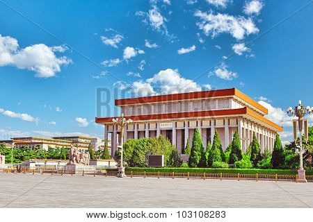Mao Zedong mausoleum on Tiananmen Square- the third largest square in the world Beijing. China. poster
