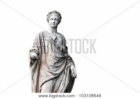 Marble statue of roman Ceres or greek Demeter isolated on white from the park of the Palace and park complex Estate of G. Galagan. Sokyryntsi village, Ukraine
