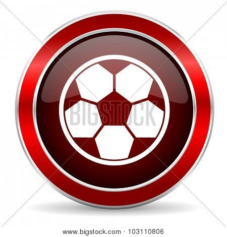 soccer red circle glossy web icon, round button with metallic border